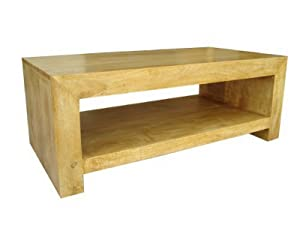 Homescapes   Dakota   RectangularáCoffee Table with Storage Shelf   Oak Finish   100% Solid Mango Hard Wood   ( No Veneer ) Hand Crafted Furniture       Customer review and more news