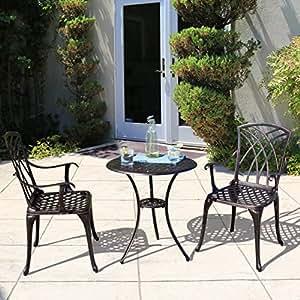 Outdoor Patio Furniture Cast Aluminum Bistro Set In Antique Copper Patio Lawn