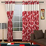 Ajay Furnishings 3 Piece Polyester Modern Window Curtain - 5 ft, Red