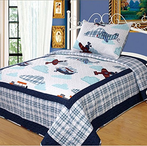 norson children patchwork quilt cartoon airplane bedding. Black Bedroom Furniture Sets. Home Design Ideas