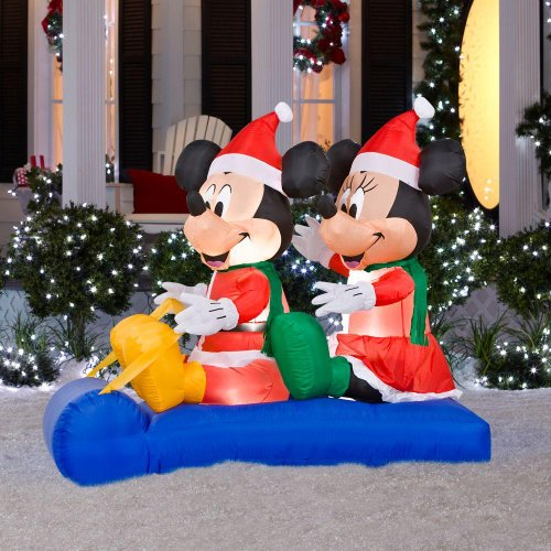 Christmas Decoration Lawn Yard Inflatable Airblown Mickey Mouse & Minnie On Sled 5' front-925631