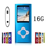 G.G.Martinsen Blue Versatile MP3/MP4 Player with a 16GB Micro SD card, Support Photo Viewer, Radio and Voice Recorder, Mini USB Port 1.8 LCD, Digital MP3 Player, MP4 Player, Video/ Media/Music Player