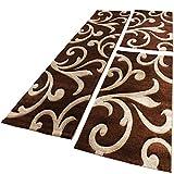 Bettumrandung Läufer Teppich Ranken Muster Barock Braun Beige Läuferset 3 Tlg., Grösse:2mal 80×150 1mal 80×300