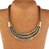 Qiyun lobig Twist Stammes Antiken Gold Bib Aussage Unisex Für Damen Und Herren Halskett Halskette