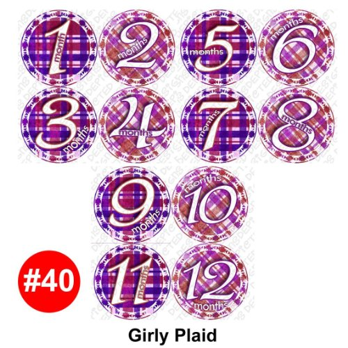 PURPLE PLAID Baby Month Onesie Stickers Baby Shower Gift Photo Shower Stickers, baby shower gift by OnesieStickers - 1