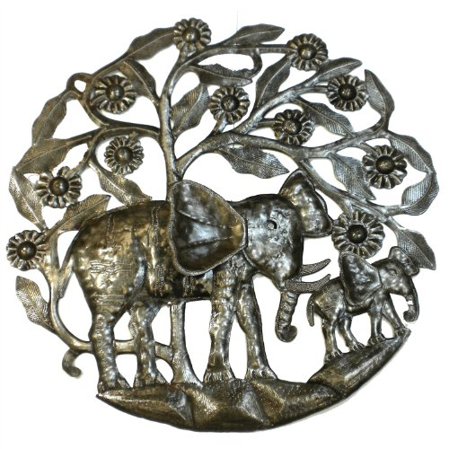 Global Crafts Metal Drum Elephants Wall Decor, 24-Inch