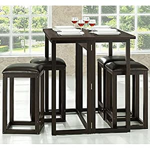 Baxton Studio Leeds 5 Piece Wood Collapsible Pub Table Set Brown