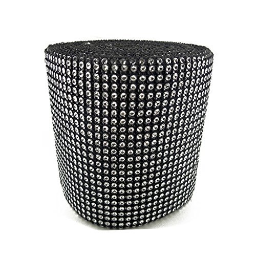 "Purchase Diamond Mesh Wrap Roll Rhinestone Crystal Ribbon 4.5"" x 10 yards (Black/Silver)"