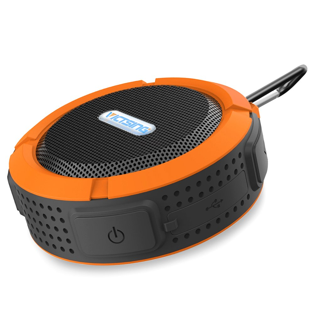 VicTsing Bluetooth 3.0 Wireless Waterproof 5W Shower Speaker with Mic and Removable Suction Cup - Orange