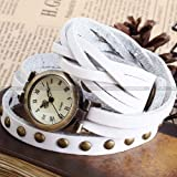 Ailisha Lady Women Fashion Wrap Around Bracelet White Long Leather Quartz Watch WAA343