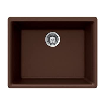 Houzer G-100U EARTH Quartztone Series Granite Undermount Single Bowl Kitchen Sink, Brown