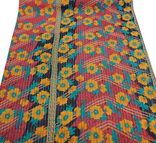 Multicolor Cama Vintage Corre Puro Algodón Gudri Kantha Stitch Tamaño Twin Quilt