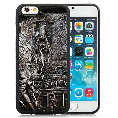BEIWU iPhone 6 Case,The Elder Scrolls Skyrim Wall Art Emblem Dragon Black Shell Case for iPhone 6S 4.7 Inch,TPU Cover