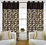 "Home Candy Eyelet Fancy Polyester 2 Piece Door Curtain Set - 84""x48"", Brown (SOE-CUR-159_159)"