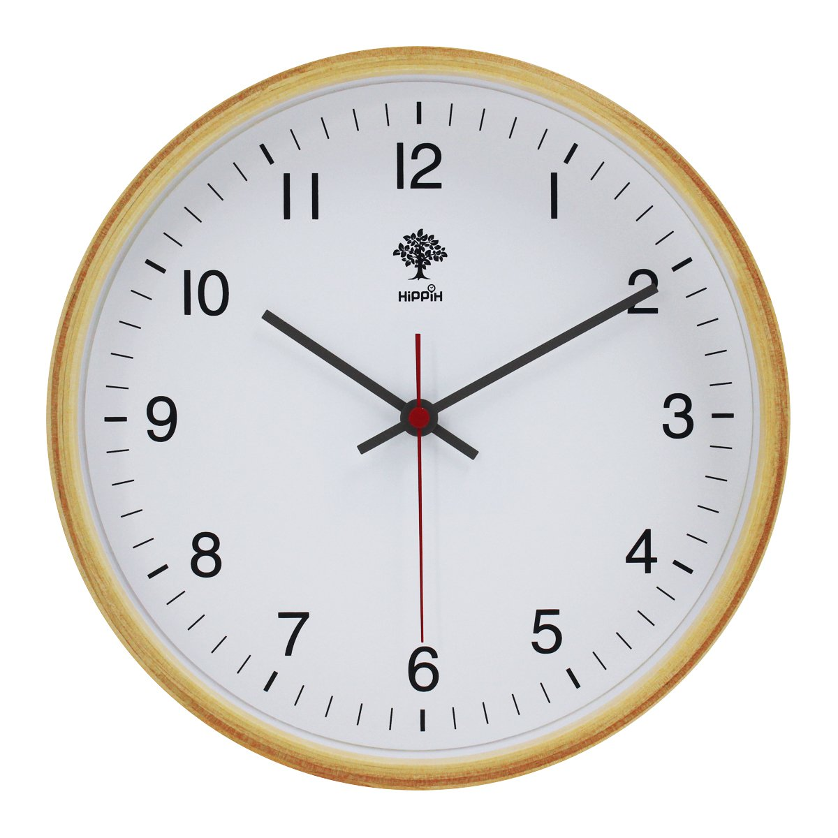 Hippih Silent Wall Clock Wood 8 Inches Non Ticking Digital
