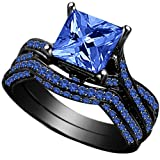 Jude Jewelers Princess Cut Engagement Wedding Bridal Halo Ring Set Proposal Anniversary Statement Promise Cocktail Party (Black Blue, 5) (Color: Black Blue)