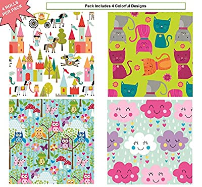 """Premium Birthday or All Occasion Gift Wrap Heavy Weight Owls, Princesses, Clouds, Cats Gloss Finish Wrapping Paper for Girls Women 4 Different Designs of 5ft X 30"""" Rolls / Per Pack Set Included!"""
