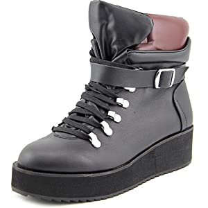 Steve Madden Women's Hiking Boot, Black Leather, 7 M US