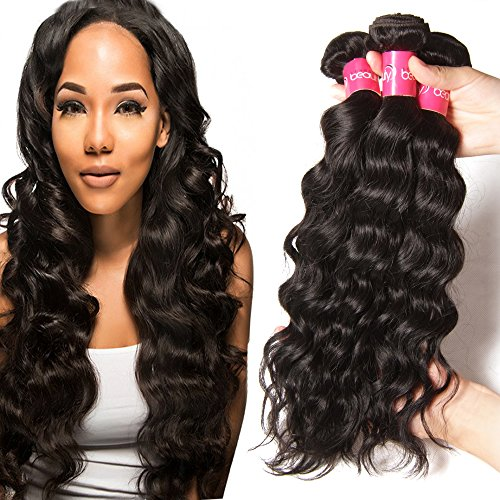 Sunber Brazilian Natural Wave 3 Bundles 7A Unprocessed Virgin Brazilian Hair Bundles Human Hair Weave Extensions Natural Black Color (16 18 20) (Natural Wave Hair compare prices)