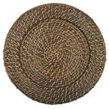 Round Rattan Brick Brown 13-Inch Charger, Set of 4