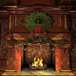 GladsBuy Christmas Fireplace 10\' x 10\' Digital Printing Photography Backdrop Christmas Theme Anti-UV Studio Background YHA-129