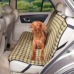 Guardian Gear Polyester/Cotton Plaid Design Dog Car Seat Cover, Blue