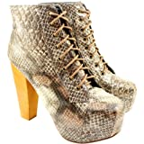 Womens Wood Heel Snake Print Ankle Shoe Boots