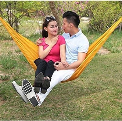 Einzel-Doppel-Fallschirmtuchhängematte Outdoor-Camping-Indoor-Freizeit Schaukel Nylon Knoten Upgrade Abschnitt von Flying little witch Hammock - Gartenmöbel von Du und Dein Garten
