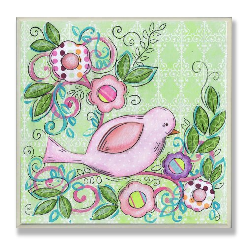 The Kids Room by Stupell Pink Bird Facing Right on a Floral Branch Square Wall Plaque