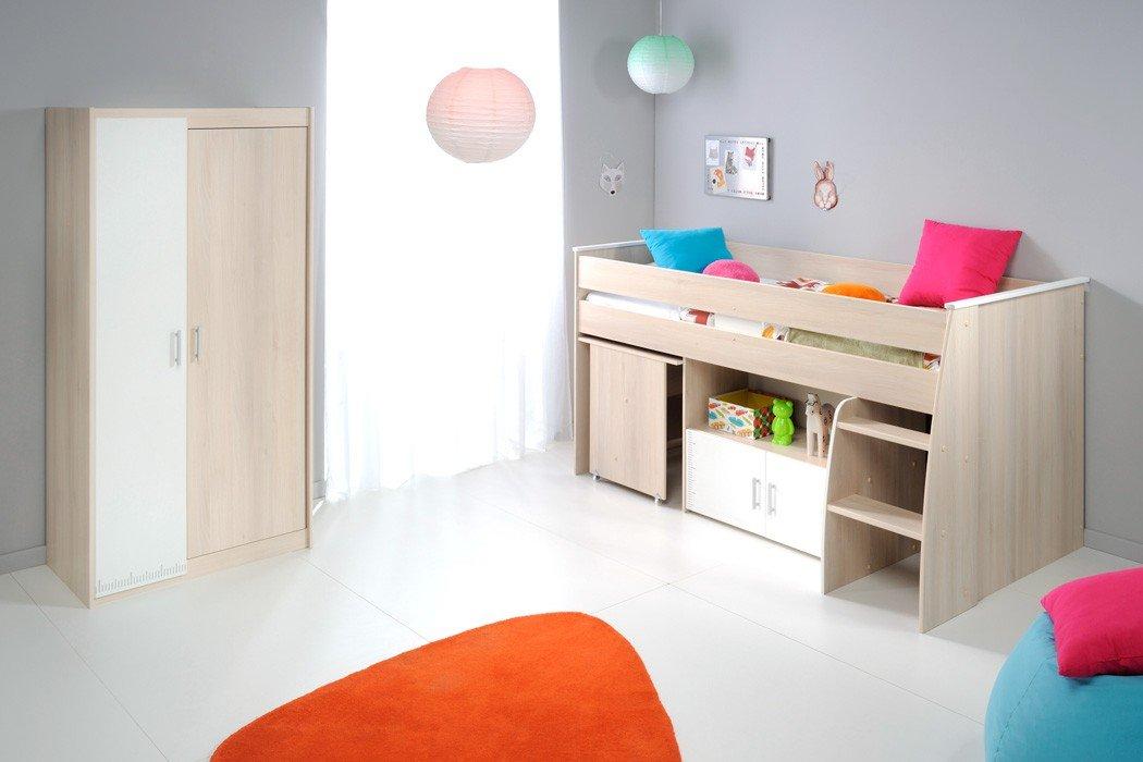 Kinderzimmer Chiron 5 Akazie Nb Hochbett Schreibtisch Kleiderschrank Kinderbett Bett Jugendzimmer günstig