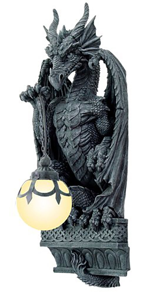 Ebros Gift Large Sculptural Night Fury Guardian Dragon Wall Sconce Corner Light Electrical Spherical Ball Lamp Fantasy Gothic Wall Plaque Decor