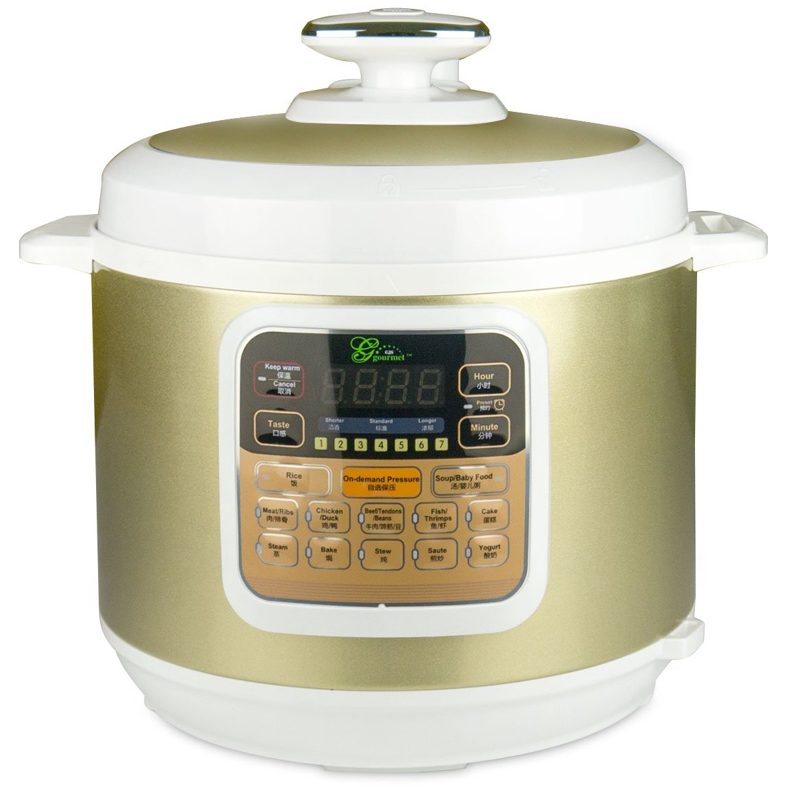MIDEA Gourmet 7-in-1 Programable 6L Automatic Electric Pressure Cooker with Stainless Steel Inner Pot. Model BT100-6L - Bouns Free Pressure Ring