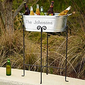 Personalized Galvanized Beverage Tub with Stand