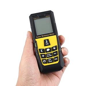 DMiotech Laser Distance Measure 131ft 40m Mini Handheld Digital Laser Distance Meter Rangefinder Measurer Tape Yellow with Tripod (Tamaño: 131ft Yellow with Tripod)