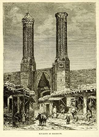 Amazon.com: 1883 Wood Engraving Twin Minaret Madrasa Cifte ...
