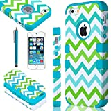 iPhone 5S case, ULAK Colorful Wave Hybrid High Impact Soft TPU + Hard PC Case Cover for Apple iPhone 5S 5 5G with Screen Protector and Stylus (Blue)