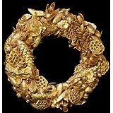 Exotic Creations Jewel Dazzle -Dried flower wreath(Golden,L=40 cm X W=40 cm X D= 40 cm)