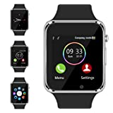 Bluetooth Smart Watch - Aeifond Touch Screen Sport Smart Wrist Watch Smartwatch Phone Fitness Tracker With Camera Pedometer SIM TF Card Slot for iPhone IOS Samsung Android for Men Women Kids (Color: Silver1)