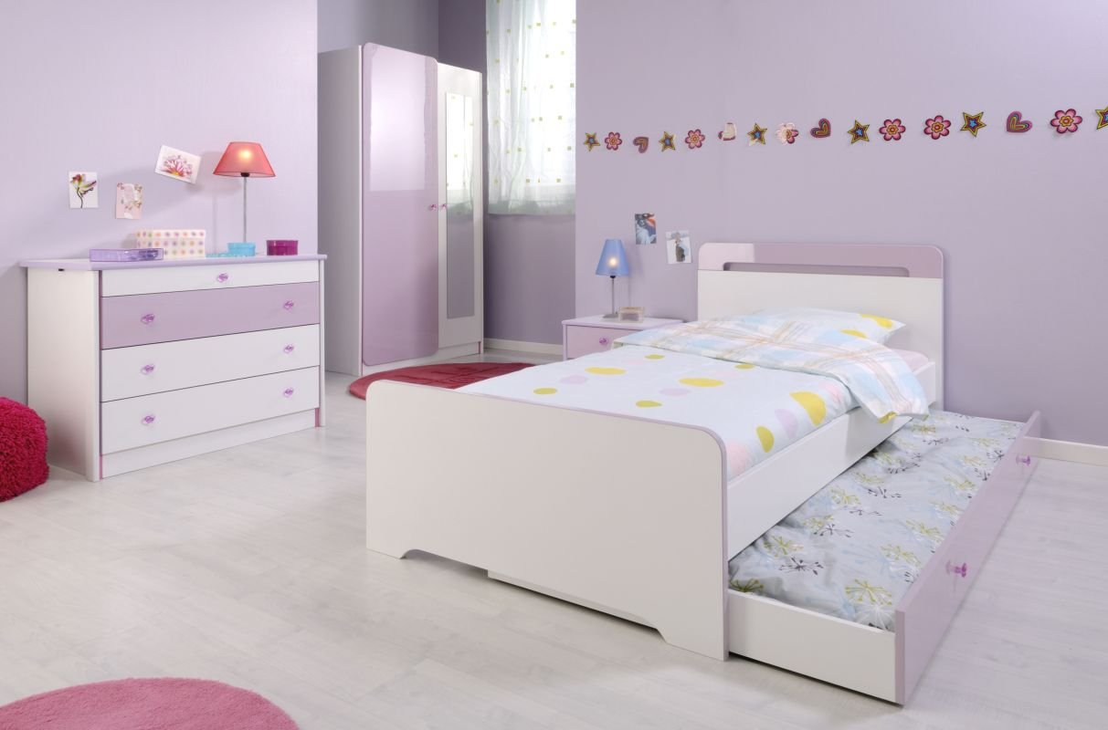 Parisot Kinderzimer-Set 4-tlg. Yasmin 2 – Mademoiselle Kinderzimer-Set 4-tlg. in der Farbe Weiss/lilafarbig-(Flieder-Parme) Hochglanz günstig kaufen