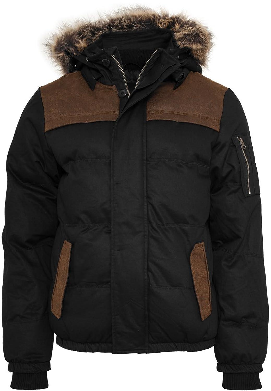 URBAN CLASSICS - Heavy Twill Bubble Jacket (black-brown)