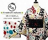 プレタ 袷 洗える着物 ナカノ ヒロミチ N-113/白地:水玉 変わり色紙文様 (Mサイズ)