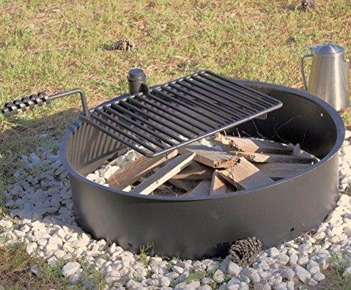 32-Steel-Fire-Ring-with-Cooking-Grate-Campfire-Pit-Park-Grill-BBQ-Camping-Trail