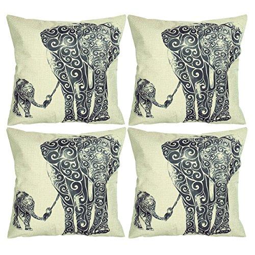 Luxbon 4er Set Elefant Mutter und Kind Leinen Kissenbezug Kissenhülle Sofakissen Pillowcase Haus Auto Deko 18 x 18 '' Schwarz