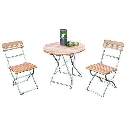 Gartengruppe Gartenmöbel Set 3-tlg Balkongruppe Garten Biergarten Robinie Stahl