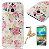 YOKIRIN HTC One M8 Bling PC Hard Case Cover Protector Case Cover Phone Case Cell Phone Shell Shell Back Cover Back Flowers & Gold Butterfly & White Rhinestone + 1 x Butterfly Dust plug + 1 x Screen Protector