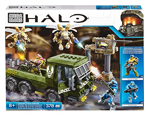 Mega Bloks CND03 - Halo Covenant Drone Outbreak Set, Include Camion/2 Personaggi/2 Droni