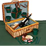 "Wicker Rattan Suitcase Style Picnic Basket - 18"" Long x 12"" Wide with Service for 4 - By Trademark Innovations"