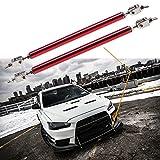 "2pc Adjustable 8""-11"" Front Bumper Lip Splitter Diffuser Strut Rod Tie Bars Fit Most Vehicles[Red]"