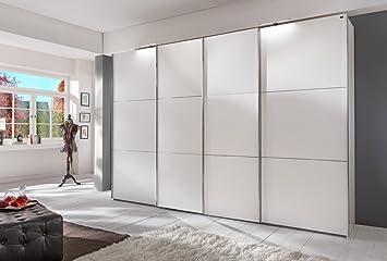 4-trg. Schwebeturenschrank in alpinweiß mit 6 Einlegeböden und 3 Kleiderstangen, inkl. Synchron-Öffnung, Maße: B/H/T ca. 300/236/65 cm