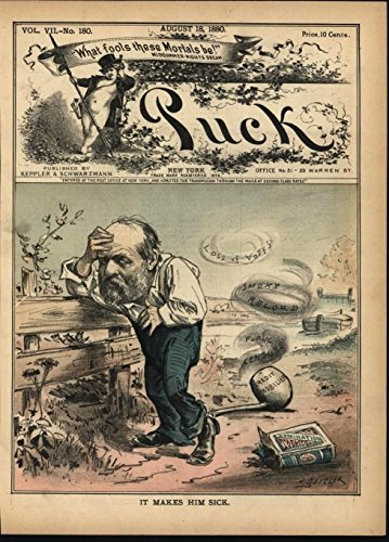 Smoking Sickly Politician Tobacco Package 1880 antique color lithograph print (Tobacco Package compare prices)